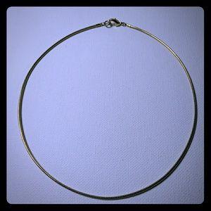 Jewelry - Gold Tone Omega Chain Choker 1mm Add Pendants!